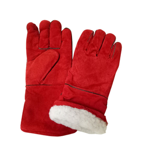 Cold Resistant Cow Split Leather Welder Gloves with Winter Lining