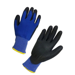 Grey PU Gloves with palm coated