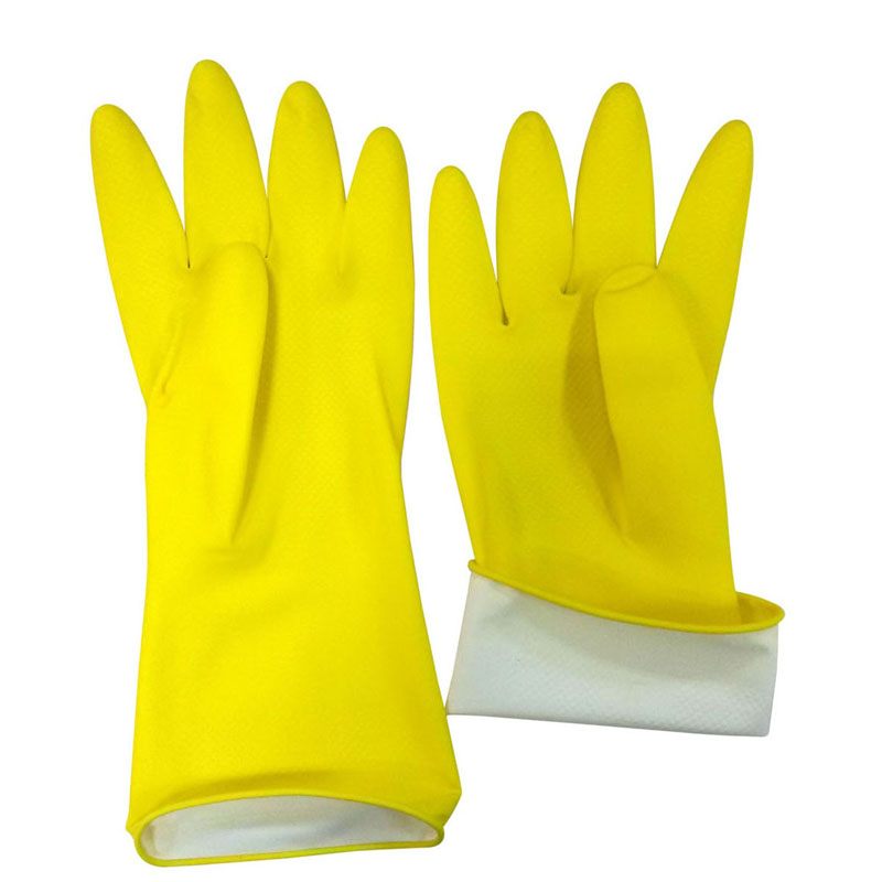 Yellow household latex kitchen gloves HHL501