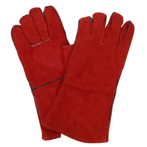 Red cow split leather welding gloves HLW612