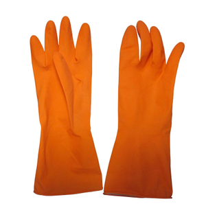 Orange household latex glove HHL502