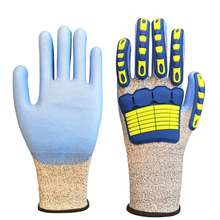 Cut and TPR Impact Resistant PU Coated Work Safety Gloves